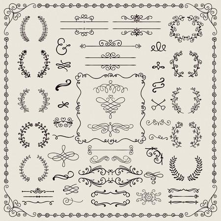 Hand Drawn Doodle Design Elements. Frames, Borders, Brackets  イラスト・ベクター素材