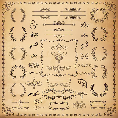 bracket: Vintage Hand Drawn Doodle Design Elements. Vector Illustration. on Old Paper Texture