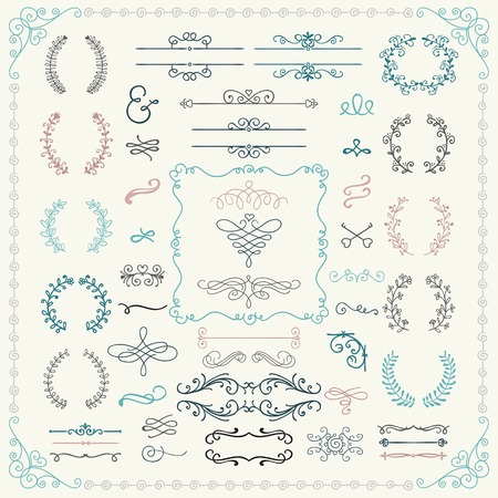 vintage invitation: Colorful Vintage Hand Drawn Doodle Design Elements. Vector Illustration.