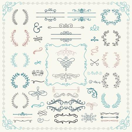 boda: Mano de la vendimia de colores dibujado Doodle Elementos de diseño. Ilustración del vector.