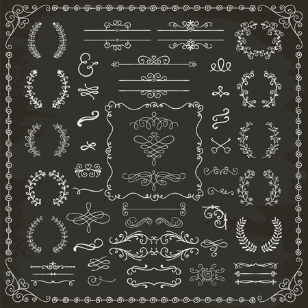 blackboard isolated: Vintage Hand Drawn Doodle Design Elements. Chalk Drawing.