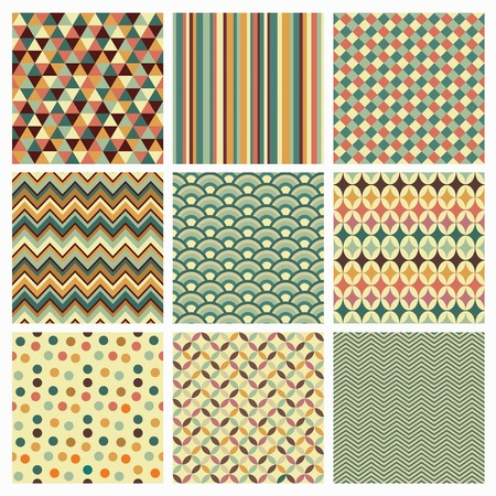 zig zag: Seamless geometric hipster background set. Retro Vintage Seamless Patterns. Vector Illustration