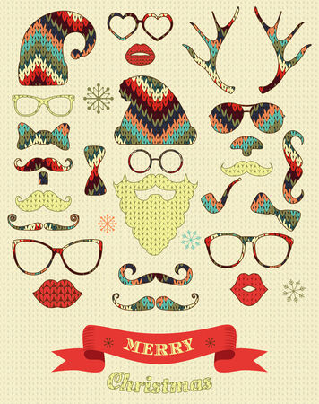 Christmas fashion silhouette set on knitting texture hipster style. illustration icons Vector