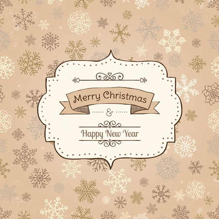 devider: Hand-Drawn Merry Christmas Greeting Card on  Seamless Background with Doodle Snowflakes. Vector Illustration