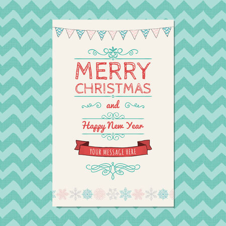 devider: Hand-Drawn Merry Christmas Greeting Card on Geometric Background. Space for Text. Vector Illustration