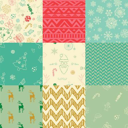 Colorful Xmas and New Year Doodles, Nine Christmas Seamless Background Patterns. Hand-Drawn Vector Illustration. Pattern Swatches