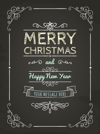 Hand-Drawn Merry Christmas Greeting Card on Chalkboard Texture. Space for Text. Vector Illustration Vector