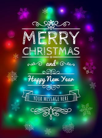 devider: Merry Christmas vintage card on blurred background.