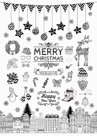 Set of Black and White Hand-drawn Outlined Christmas Doodle Icons. Xmas Vector Illustration. Text Lettering. Party Elements, Cartoons Illustration