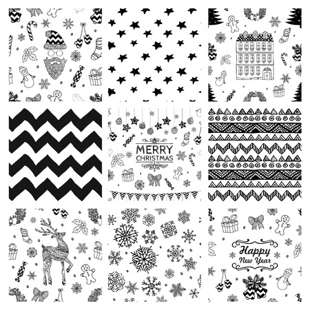 Black and White Xmas and New Year Doodles, Nine Christmas Seamless Background Patterns. Hand-Drawn Vector Illustration. Pattern Swatches Vector
