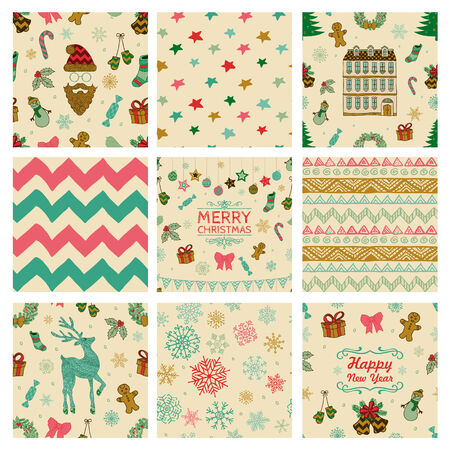 Colorful Xmas and New Year Doodles, Nine Christmas Seamless Background Patterns. Hand-Drawn Vector Illustration. Pattern Swatches Vector