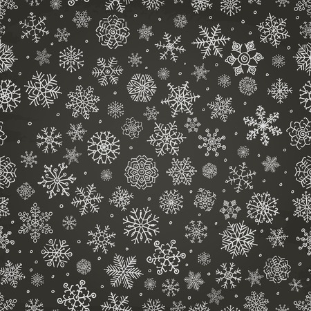 Winter Snow Flakes Doodles. Seamless Background Pattern on Chalkboard Texture. Hand-Drawn Vector Illustration. Pattern Swatch