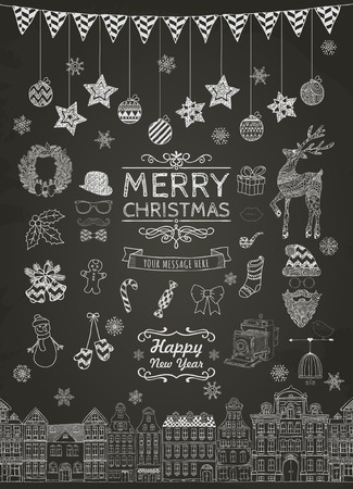 Set of Hand-drawn Outlined Christmas Doodle Icons on Chalkboard Texture. Xmas Vector Illustration. Text Lettering. Party Elements, Cartoons
