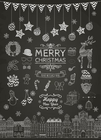 Set van Hand-Drawn Overzichts Kerstmis Doodle pictogrammen op schoolbord textuur. Xmas Vector Illustratie. Tekst Belettering. Partij Elements, Cartoons Stock Illustratie