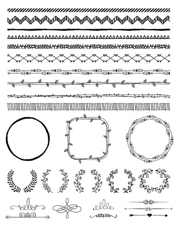 Hand-Drawn Doodle Seamless Borders and Design Elements. Decorative Flourish Frames, Brackets. Vector Illustration. Pattern Brushes