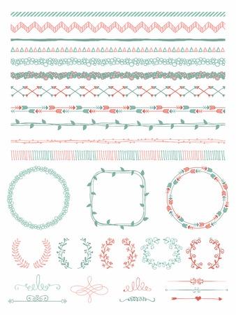 bracket: Colorful Hand-Drawn Doodle Seamless Borders and Design Elements. Decorative Flourish Frames, Brackets. Vector Illustration. Pattern Brushes