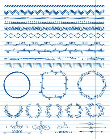 Hand-Drawn Doodle Seamless Borders and Design Elements. Decorative Flourish Frames, Brackets. On Paper Texture. Vector Illustration. Pattern Brushes Vector