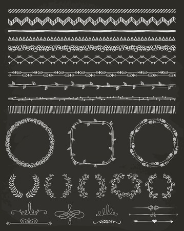 Hand-Drawn Doodle Seamless Borders and Design Elements. Decorative Flourish Frames, Brackets. Vector Illustration. Chalk Drawing. Pattern Brushes Vector