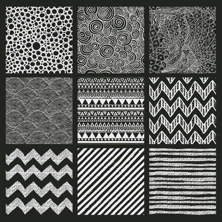 Set of Nine Abstract Hand Drawn Geometric Seamless Background Patterns. Chalk Drawing. Fully Editable EPS file with Pattern Swatches Vector