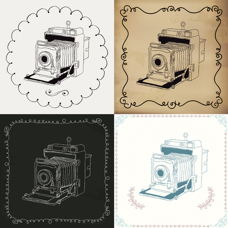Set of 4 Vintage Doodle Hand-Drawn Camera Variations on different backgrounds. Chalk Drawing, Old Paper Texture, Balck and White, Colorful. Vector Illustration