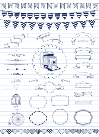 Vector Hand Drawn Doodle Banners, Ribbons, Frames on Paper Texture. Pen Painting.  Vector