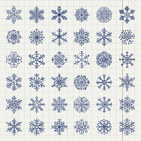 Hand-Drawn Winter Snow Flakes Doodles. Sheet Of Paper From Notebook Into Cell Texture. Vector Illustration Vector