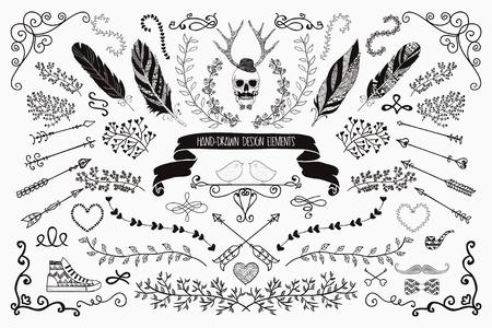 Hand-Drawn Doodle Floral Design Elements. Decorative Flourish Brackets, Wreaths, Laurels. Vector Illustration.  イラスト・ベクター素材
