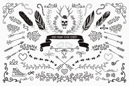 Hand-Drawn Doodle Floral Design Elements. Decorative Flourish Brackets, Wreaths, Laurels. Vector Illustration. 向量圖像