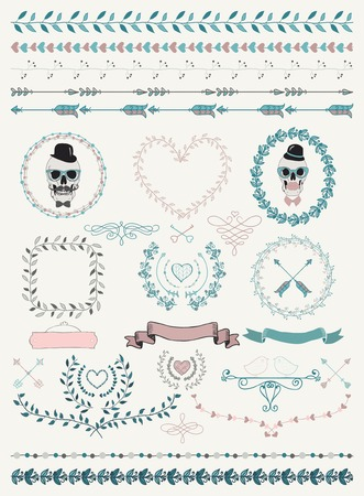 valentines: Colorful Hand-Drawn Doodle Seamless Borders and Design Elements. Decorative Flourish Frames, Wreaths, Laurels. Valentines Day. Wedding. Vector Illustration.