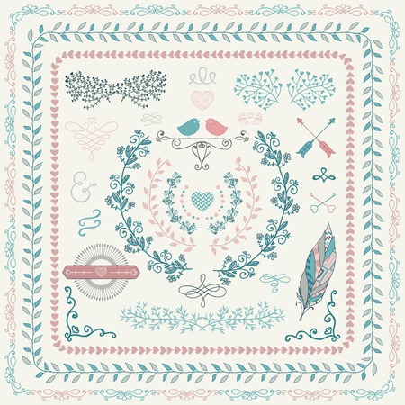 wedding clipart: Colorful Hand-Drawn Doodle Seamless Borders and Design Elements. Decorative Flourish Frames, Wreaths, Laurels. Vector Illustration. Illustration