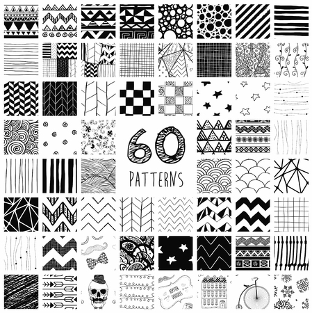 Sixty Abstract Hand Drawn Geometric Black Seamless Pattern Swatches with Transparent Background