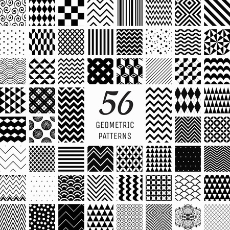 Set of 56 Vector Black Geometric Seamless Patterns with Transparent Background. Pattern Swatches