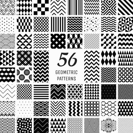 Set van 56 vector zwarte geometrische naadloze patronen met transparante achtergrond. Patroonstalen