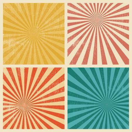 Set of 4 Sunburst Retro Grunge Textured Backgrounds. Vintage Rays