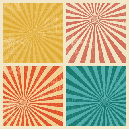 Set of 4 Sunburst Retro Grunge Textured Backgrounds. Vintage Rays
