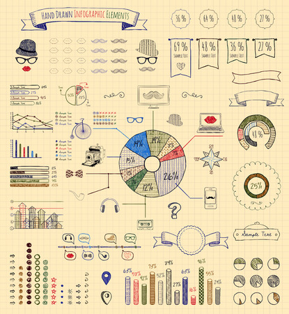 Hand-Drawn Doodle Design Elements and Icons of Vintage Infographics. Vector Illustration. Pen Drawing Vector