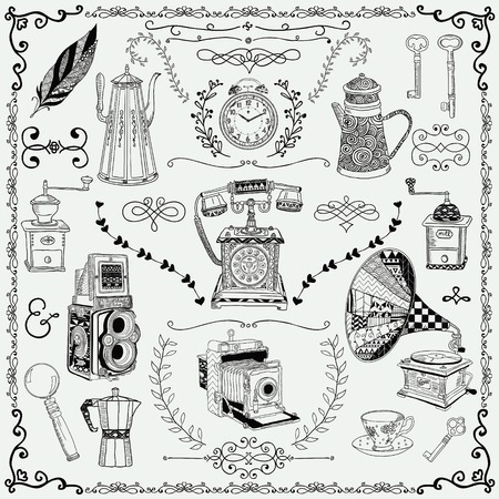 old key: Vintage Hand-Drawn Doodle Icons and Design Elements. Vector Illustration. Fully Editable Illustration