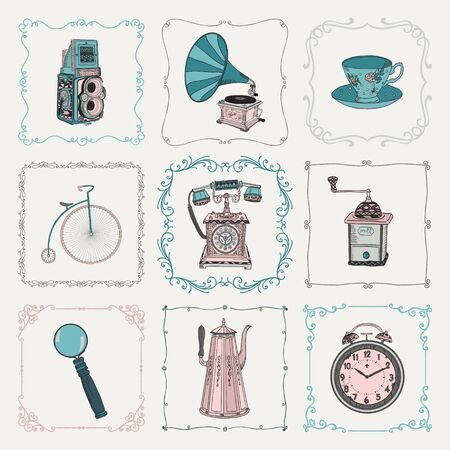 old telephone: Colorful Old Style Hand-Drawn Doodle Icons and Vintage Frames. Vector Illustration. Fully Editable. Objects Illustration