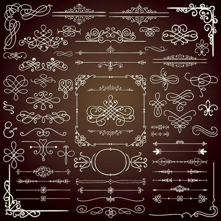 Royal dibujado mano del Doodle Elementos de diseño. Frames, Borders, los remolinos. Ilustración vectorial Vectores