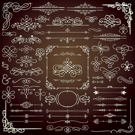 Royal Hand Drawn Doodle ontwerpelementen. Frames, Borders, wervelingen. Vector Illustratie