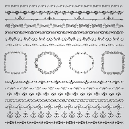 brashes: Collection of Seamless Hand Drawn Doodle Vintage Borders and Frames. Vector Illustration with Pattern Brashes