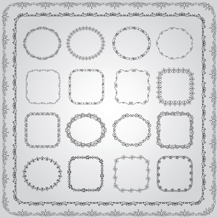 square ruler: Collection of Hand Drawn Doodle Vintage Borders and Frames. Vector Illustration