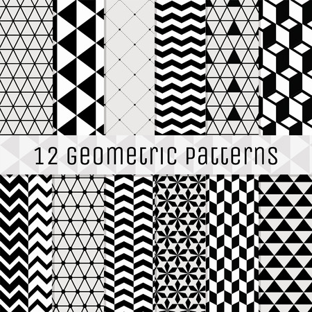 12 のシームレスな幾何学的な背景パターンのセットです。パターンスウォッチを完全に編集可能な透明 BG. 黒。ベクトル図