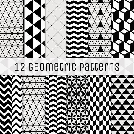 Set van 12 Naadloze Geometrische Achtergrond Patronen. Zwart met Transparent BG. Volledig bewerkbaar met Pattern Stalen. Vector Illustratie