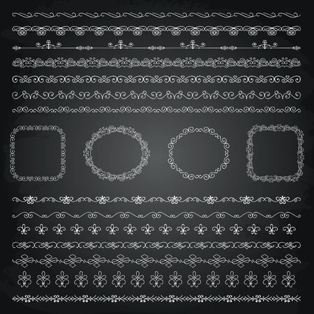 chalks: Collection of Seamless Chalk Drawing Doodle Vintage Borders and Frames. Chalkboard Texture. Vector Illustration.