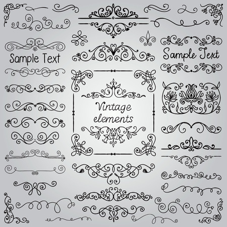 Decorative Vintage Hand Drawn Doodle Design Elements. Frames, Dividers, Swirls. Vector Illustration