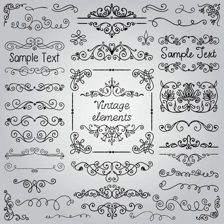 Decorative Vintage Hand Drawn Doodle Design Elements. Frames, Dividers, Swirls. Vector Illustration