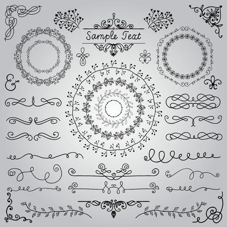 装飾的なヴィンテージ手描き落書きデザイン要素です。フレーム、仕切り、まんじ。ベクトル イラスト