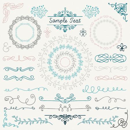 カラフルな装飾的なヴィンテージ手描き落書きデザイン要素です。フレーム、仕切り、渦巻き。ベクトル図