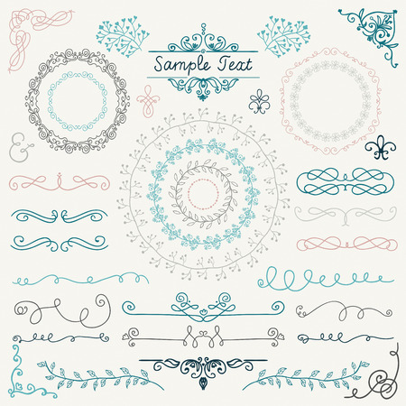 Colorful Decorative Vintage Hand Drawn Doodle Design Elements. Frames, Dividers, Swirls. Vector Illustration